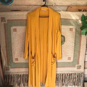 Mustard long cardigan pockets small